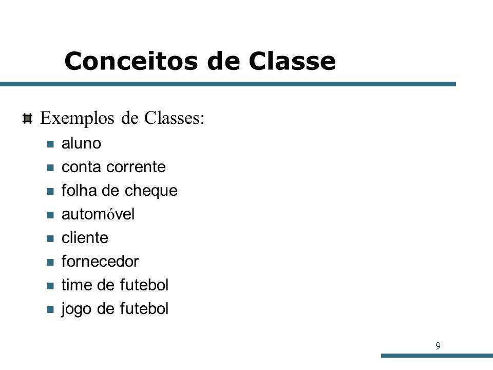 9 Conceitos de Classe Exemplos de Classes: aluno conta corrente folha de cheque autom ó vel cliente fornecedor time de futebol jogo de futebol