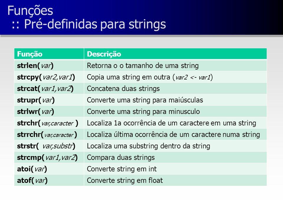 Funções :: Pré-definidas para strings FunçãoDescrição strlen(var)Retorna o o tamanho de uma string strcpy(var2,var1)Copia uma string em outra ( var2 <- var1 ) strcat(var1,var2)Concatena duas strings strupr(var)Converte uma string para maiúsculas strlwr(var)Converte uma string para minusculo strchr( var,caracter )Localiza 1a ocorrência de um caractere em uma string strrchr( var,caracter )Localiza última ocorrência de um caractere numa string strstr( var,substr)Localiza uma substring dentro da string strcmp(var1,var2)Compara duas strings atoi(var)Converte string em int atof(var)Converte string em float