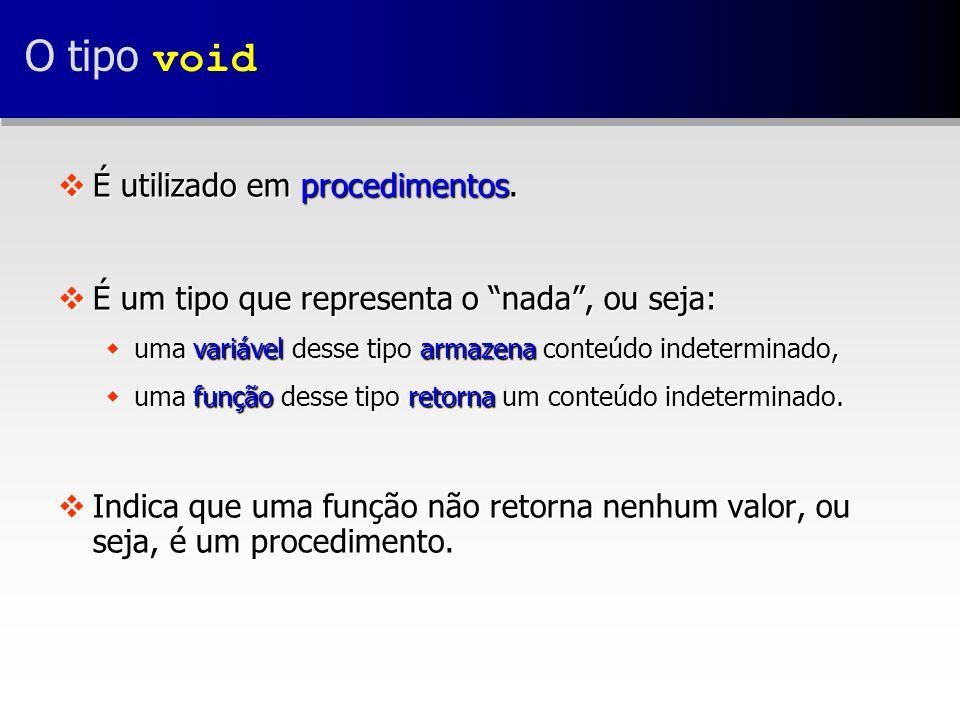 O tipo void vÉ utilizado em procedimentos.