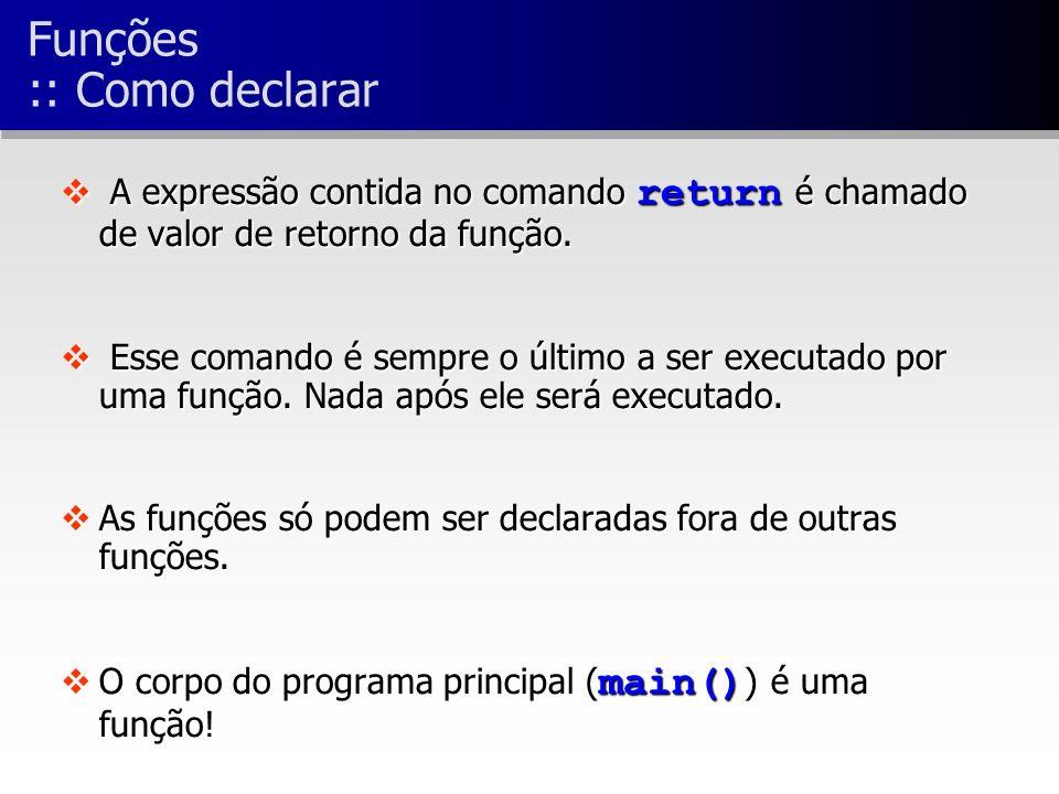 A expressão contida no comando return é chamado de valor de retorno da função.