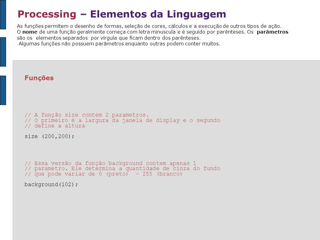 Processing – Elementos da Linguagem Expressões 5 15.0+1.0 ((3+2)*-10)+1 6>3 54<50 As expressões estão para o software assim como as frases estão para a linguagem humana.