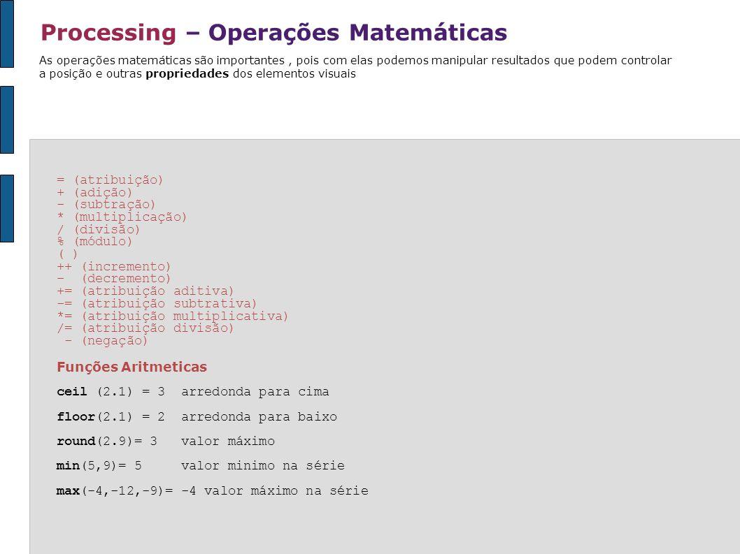 Processing – Operações Matemáticas As operações matemáticas são importantes, pois com elas podemos manipular resultados que podem controlar a posição