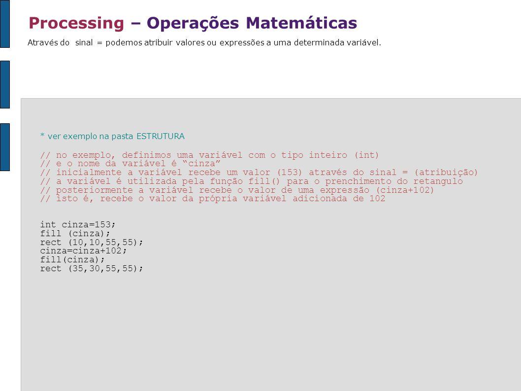 Processing – Operações Matemáticas Através do sinal = podemos atribuir valores ou expressões a uma determinada variável. * ver exemplo na pasta ESTRUT