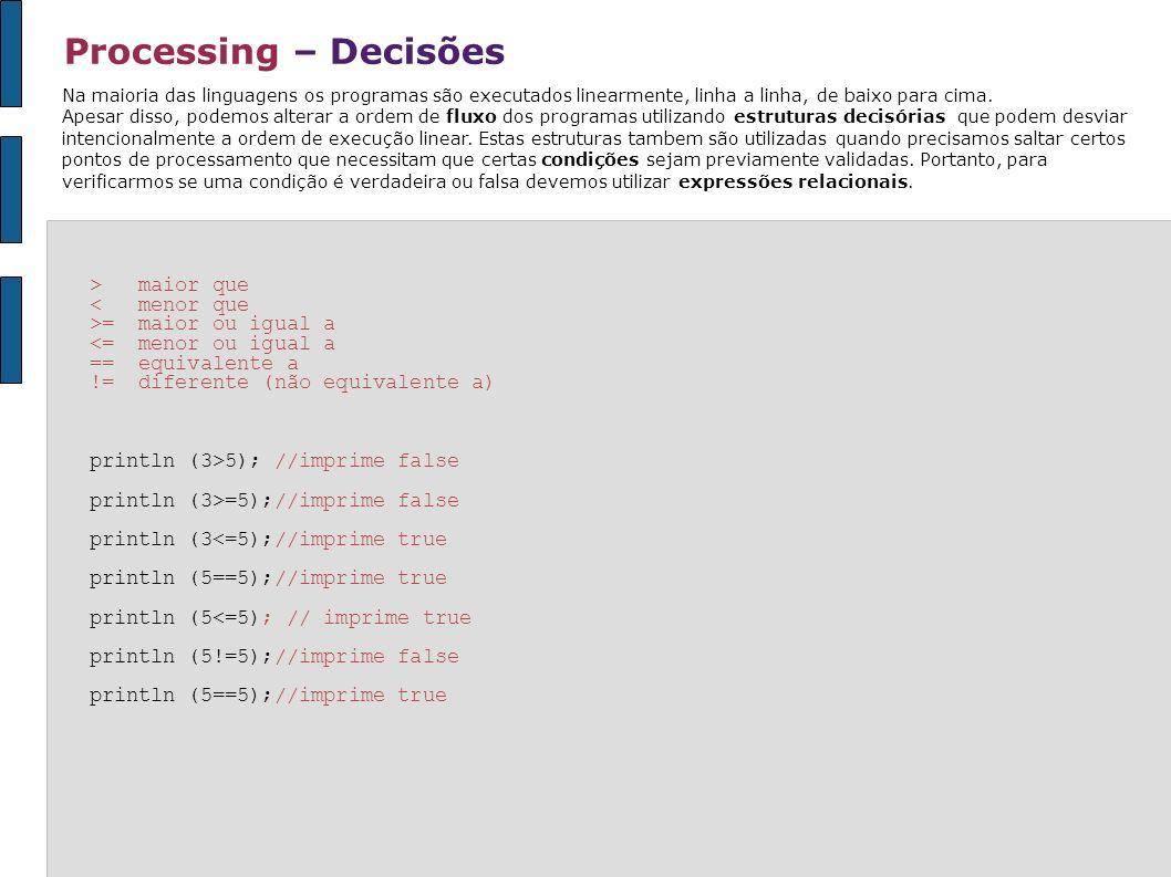 Processing – Decisões Na maioria das linguagens os programas são executados linearmente, linha a linha, de baixo para cima. Apesar disso, podemos alte