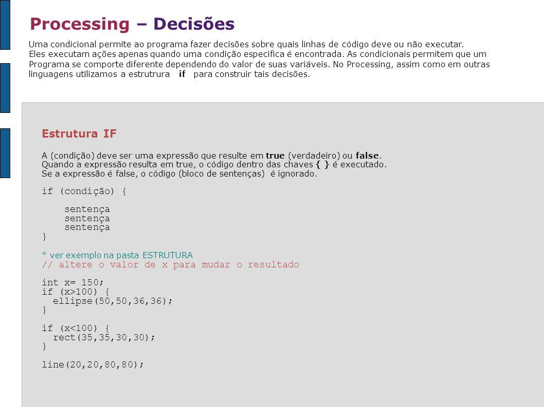 Processing – Decisões Uma condicional permite ao programa fazer decisões sobre quais linhas de código deve ou não executar. Eles executam ações apenas