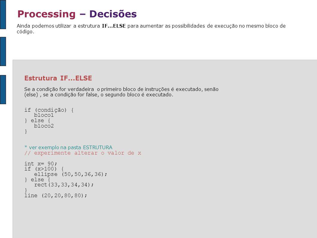 Processing – Decisões Ainda podemos utilizar a estrutura IF...ELSE para aumentar as possibilidades de execução no mesmo bloco de código. Estrutura IF.