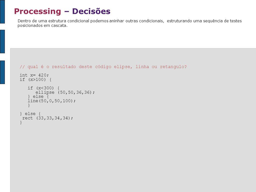 Processing – Decisões Dentro de uma estrutura condicional podemos aninhar outras condicionais, estruturando uma sequência de testes posicionados em ca