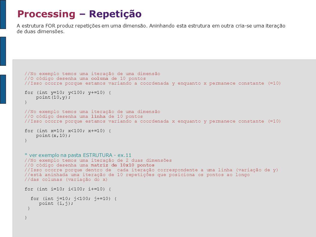 Processing – Repetição A estrutura FOR produz repetições em uma dimensão. Aninhando esta estrutura em outra cria-se uma iteração de duas dimensões. //