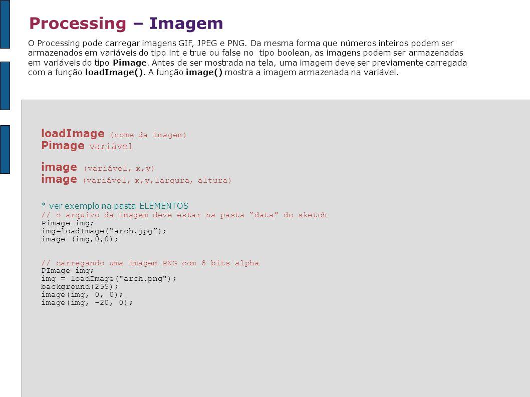 Processing – Imagem O Processing pode carregar imagens GIF, JPEG e PNG. Da mesma forma que números inteiros podem ser armazenados em variáveis do tipo
