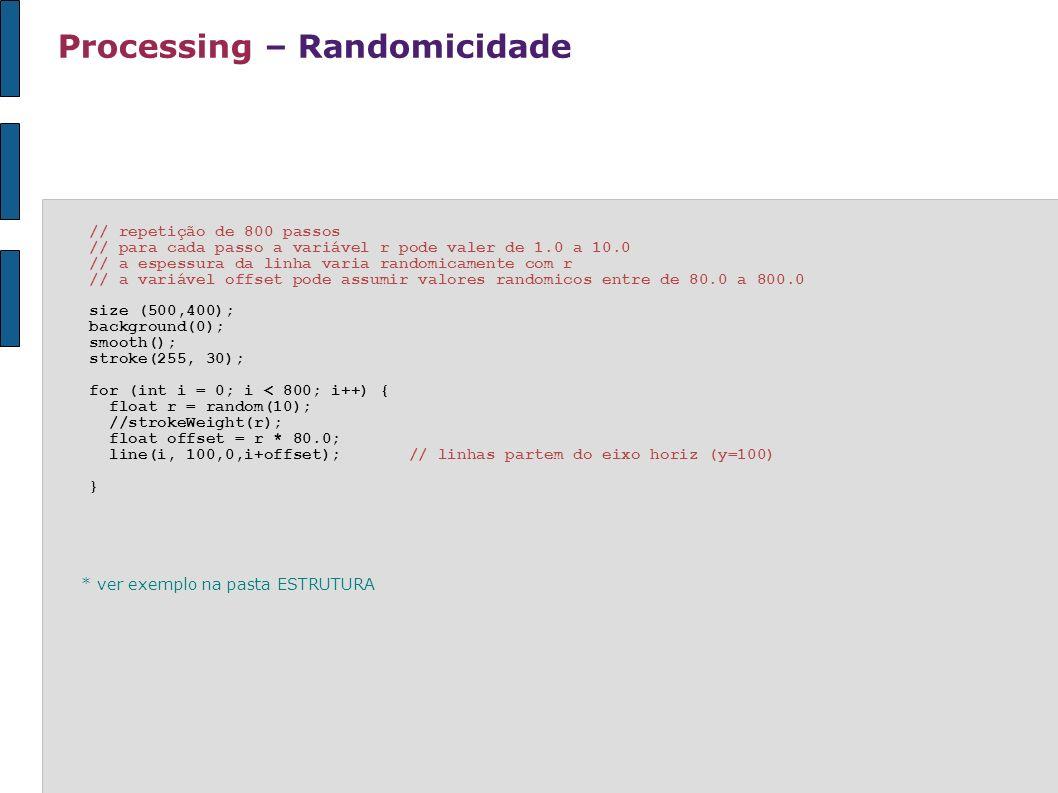 Processing – Randomicidade // repetição de 800 passos // para cada passo a variável r pode valer de 1.0 a 10.0 // a espessura da linha varia randomica
