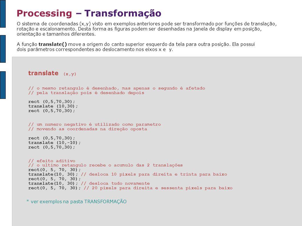Processing – Transformação O sistema de coordenadas (x,y) visto em exemplos anteriores pode ser transformado por funções de translação, rotação e esca