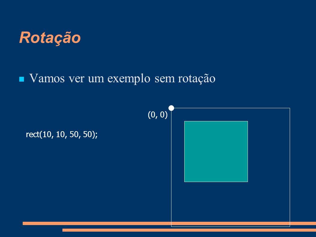 Rotação Vamos ver um exemplo sem rotação rect(10, 10, 50, 50); (0, 0)
