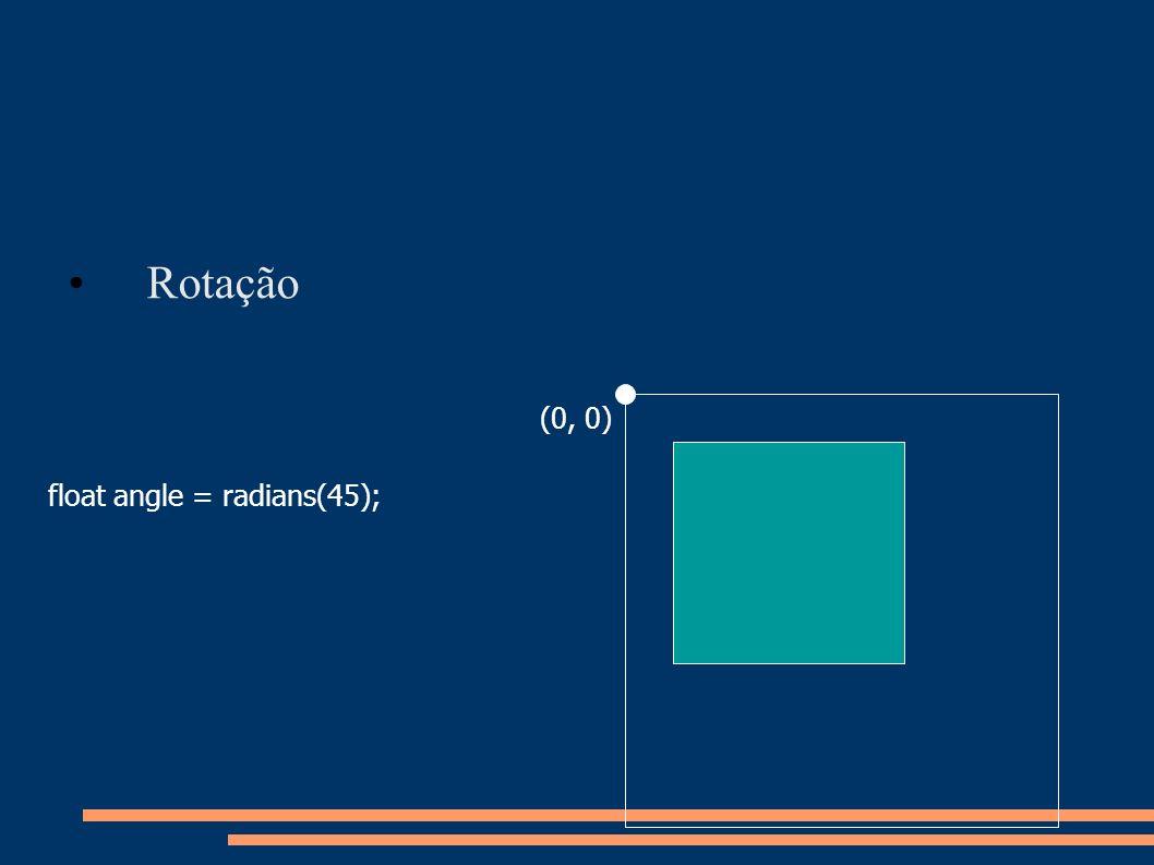 Rotação float angle = radians(45); (0, 0)