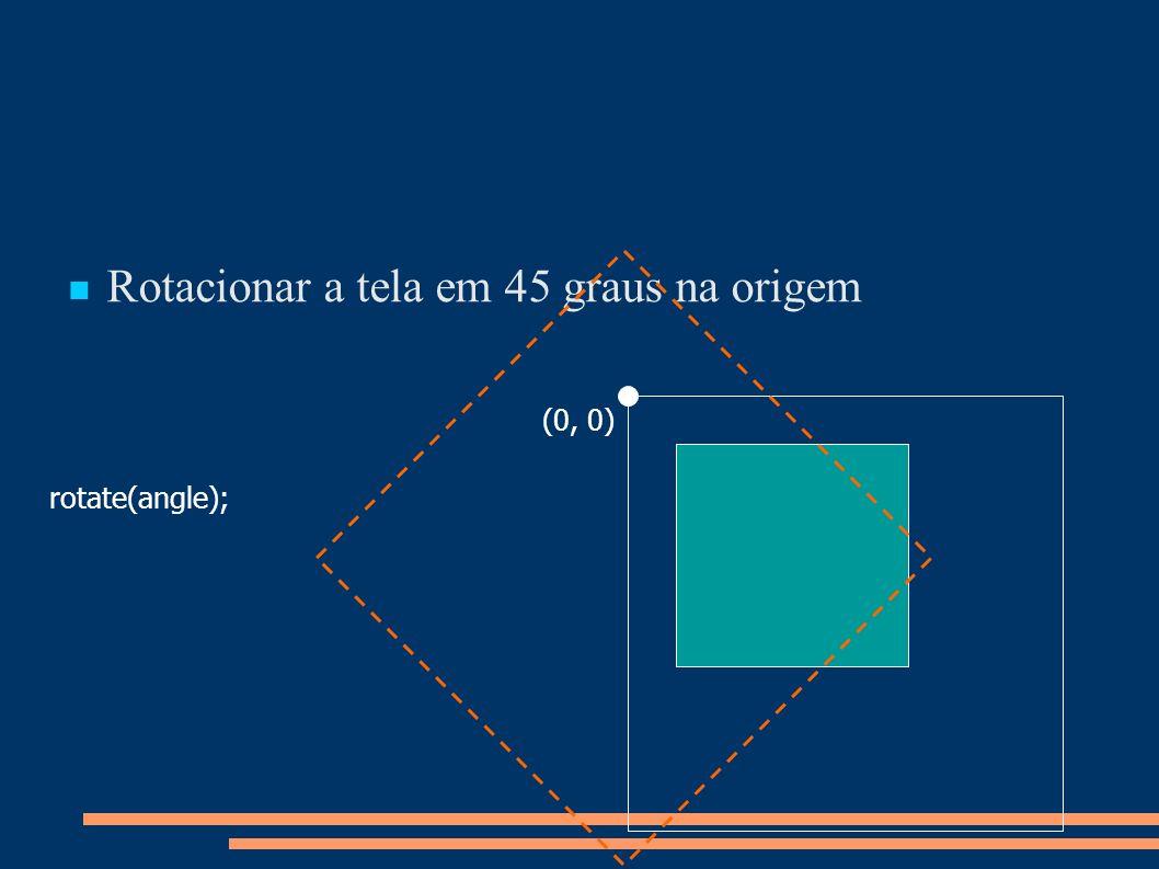 Rotacionar a tela em 45 graus na origem rotate(angle); (0, 0)