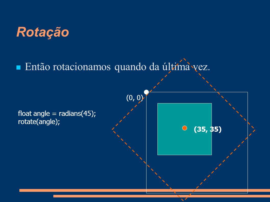 Rotação Então rotacionamos quando da última vez. float angle = radians(45); rotate(angle); (0, 0) (35, 35)