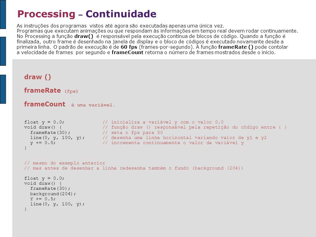 draw () frameRate (fps) frameCount é uma variável. float y = 0.0; // inicializa a variável y com o valor 0.0 void draw() { // função draw () responsáv