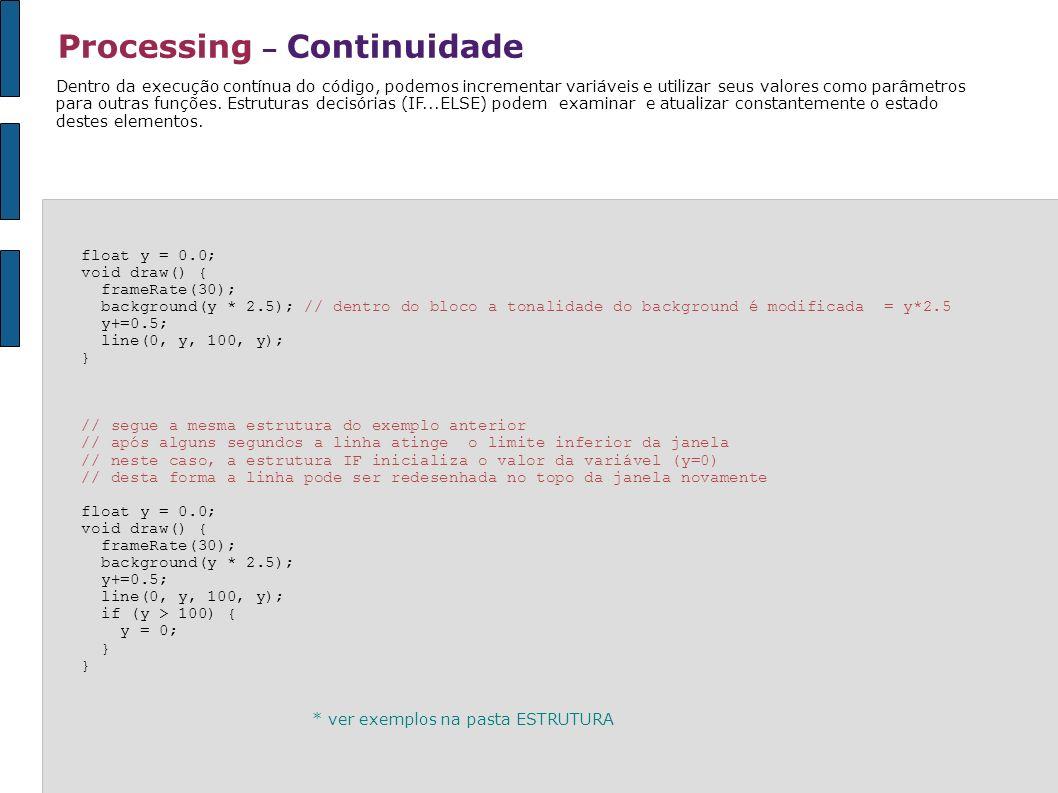 Processing – Continuidade float y = 0.0; void draw() { frameRate(30); background(y * 2.5); // dentro do bloco a tonalidade do background é modificada