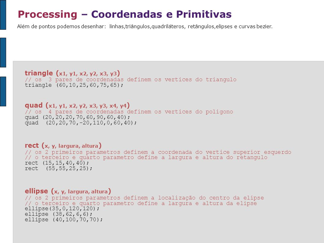 Processing – Coordenadas e Primitivas bezier ( x1, y1, cx1, cy1, cx2,cy2, x2, y2 ) // a função contem 8 parametros que determinam 4 pontos // a curva é desenhada entre o primeiro e quarto ponto // os pontos de controle são determinados pelo segundo e terceiro parametro bezier(32,20,80,5,80,75,30,75) * ver exemplo na pasta Elementos // podemos visualizar estes pontos // basta desenhar circulos nas coordenadas dos pontos // e linhas que ligam estes pontos bezier (85,20,40,10,60,90,15,80); line (85,20,40,10); ellipse (40,10,4,4); line (60,90,15,80); ellipse (60,90,4,4); A função bezier desenha uma curva orientada por uma série de pontos de controle e âncoras.