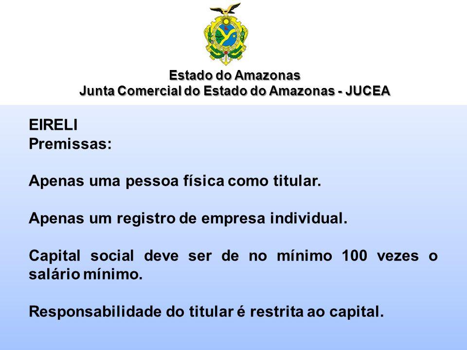 Estado do Amazonas Junta Comercial do Estado do Amazonas - JUCEA EIRELI Premissas: Apenas uma pessoa física como titular. Apenas um registro de empres