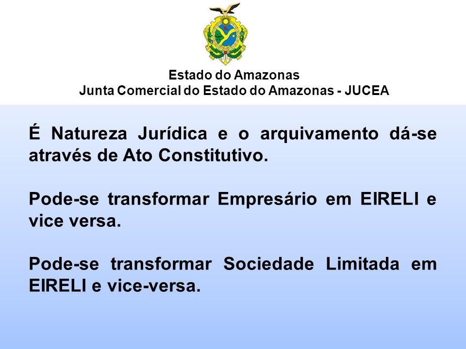 Estado do Amazonas Junta Comercial do Estado do Amazonas - JUCEA É Natureza Jurídica e o arquivamento dá-se através de Ato Constitutivo. Pode-se trans