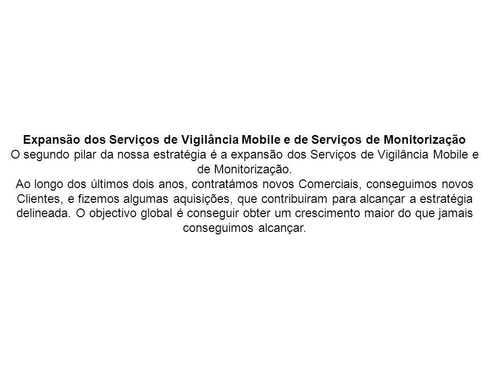 Expansão dos Serviços de Vigilância Mobile e de Serviços de Monitorização O segundo pilar da nossa estratégia é a expansão dos Serviços de Vigilância