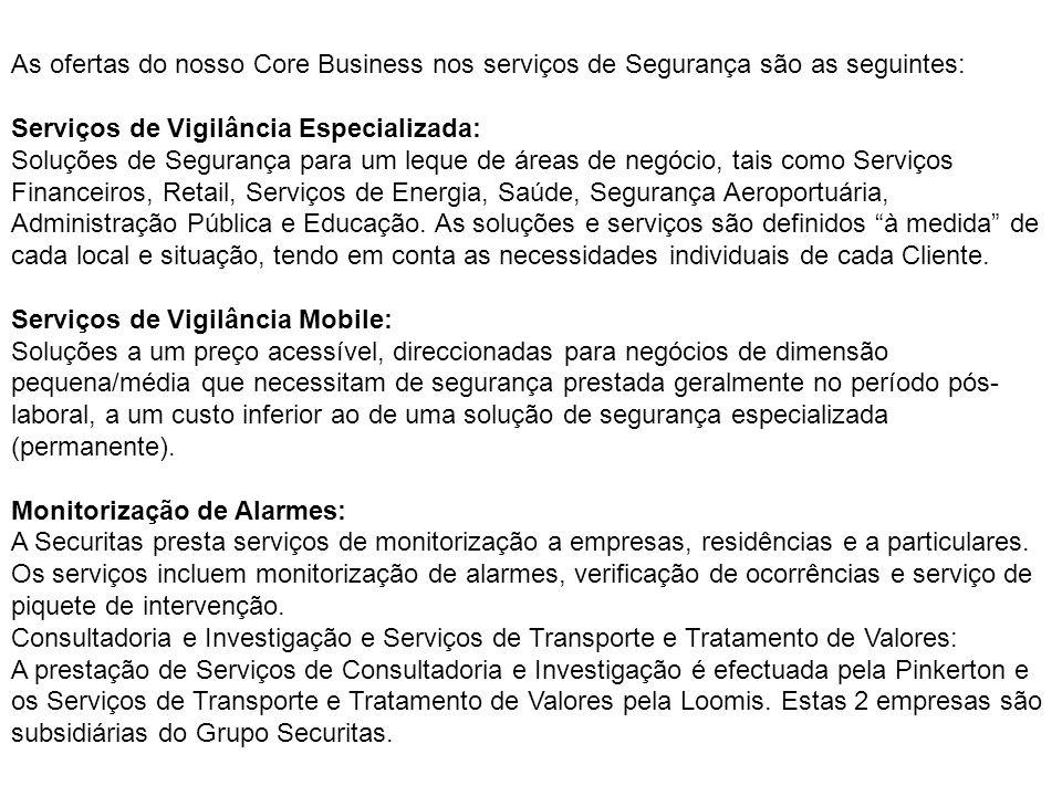 As ofertas do nosso Core Business nos serviços de Segurança são as seguintes: Serviços de Vigilância Especializada: Soluções de Segurança para um lequ