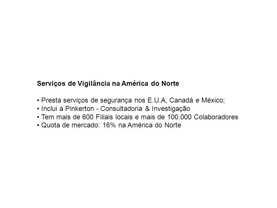 Serviços de Vigilância na América do Norte Presta serviços de segurança nos E.U.A, Canadá e México; Inclui a Pinkerton - Consultadoria & Investigação