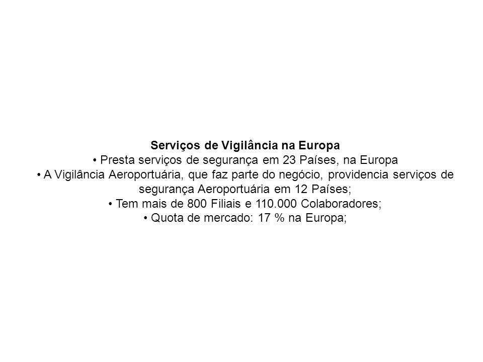 Serviços de Vigilância na Europa Presta serviços de segurança em 23 Países, na Europa A Vigilância Aeroportuária, que faz parte do negócio, providenci