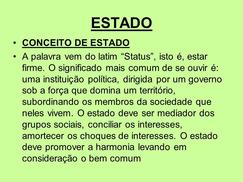 ESTADO CONCEITO DE ESTADO A palavra vem do latim Status, isto é, estar firme. O significado mais comum de se ouvir é: uma instituição política, dirigi