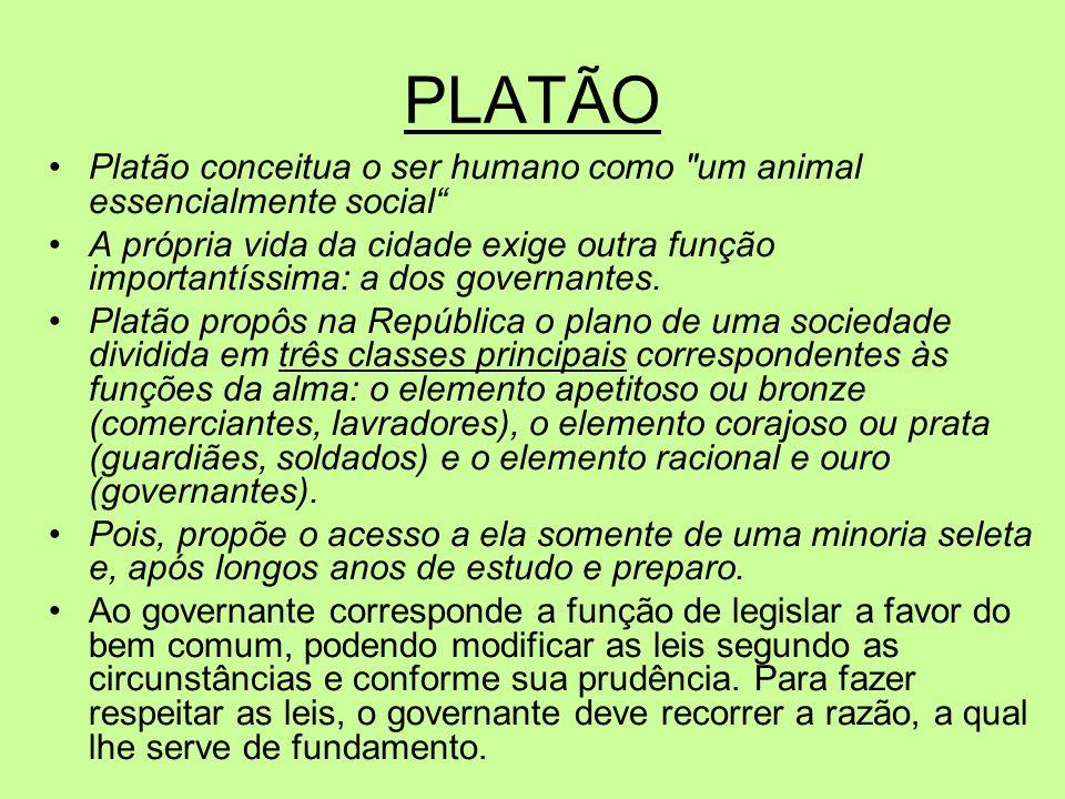 PLATÃO Platão conceitua o ser humano como