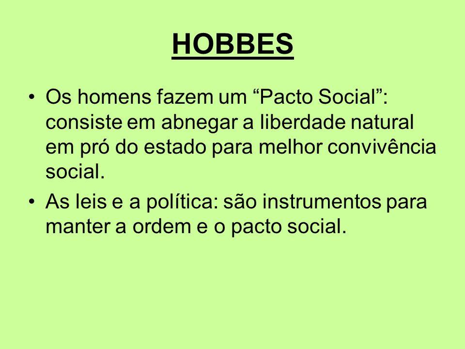 HOBBES Os homens fazem um Pacto Social: consiste em abnegar a liberdade natural em pró do estado para melhor convivência social. As leis e a política: