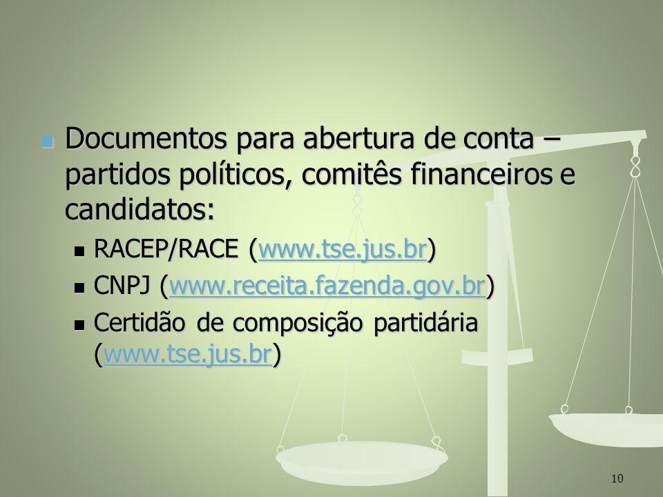 Documentos para abertura de conta – partidos políticos, comitês financeiros e candidatos: Documentos para abertura de conta – partidos políticos, comi