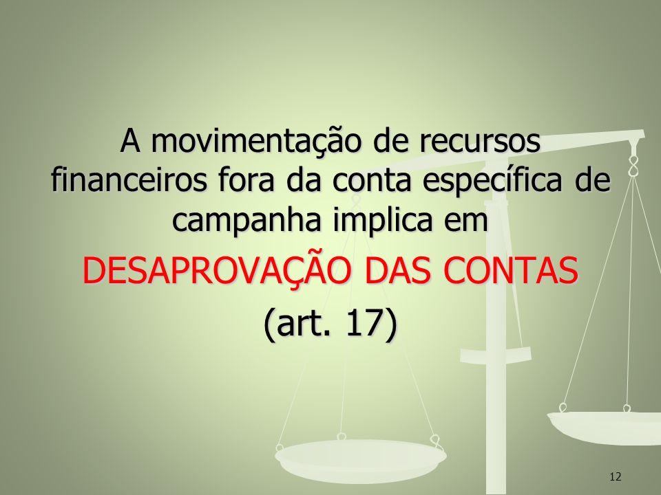 A movimentação de recursos financeiros fora da conta específica de campanha implica em DESAPROVAÇÃO DAS CONTAS (art. 17) 12