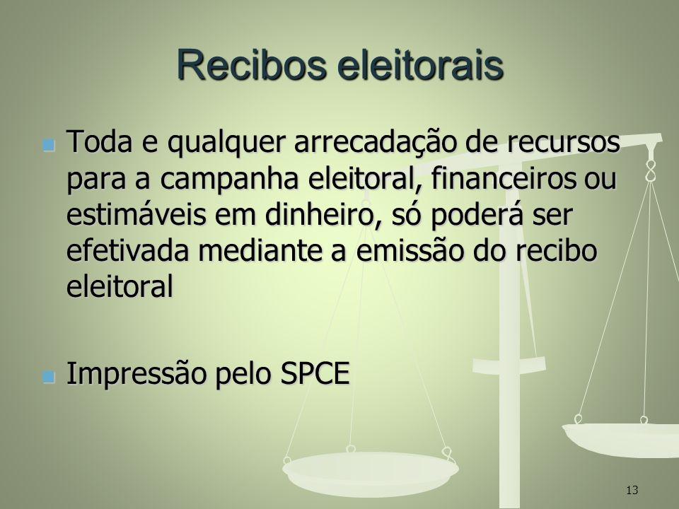 Recibos eleitorais Toda e qualquer arrecadação de recursos para a campanha eleitoral, financeiros ou estimáveis em dinheiro, só poderá ser efetivada m