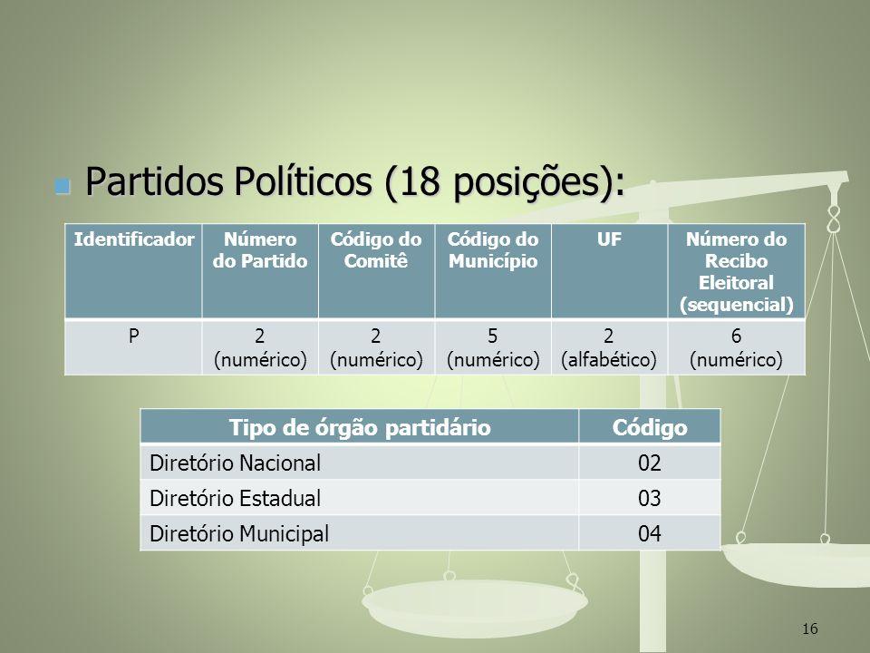 Partidos Políticos (18 posições): Partidos Políticos (18 posições): 16 IdentificadorNúmero do Partido Código do Comitê Código do Município UFNúmero do