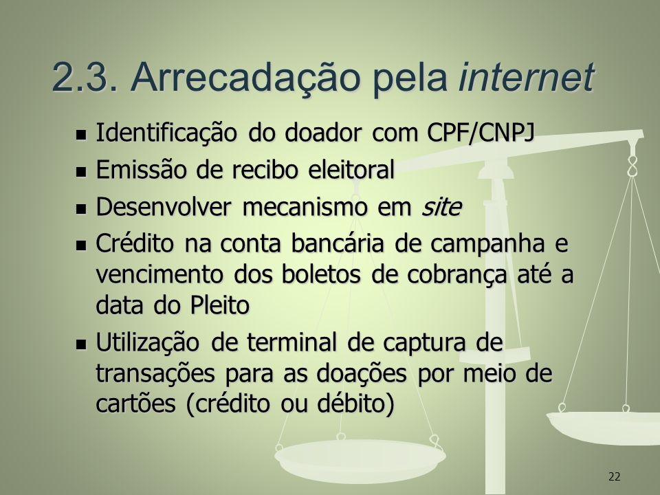 2.3. Arrecadação pela internet 2.3. Arrecadação pela internet Identificação do doador com CPF/CNPJ Identificação do doador com CPF/CNPJ Emissão de rec