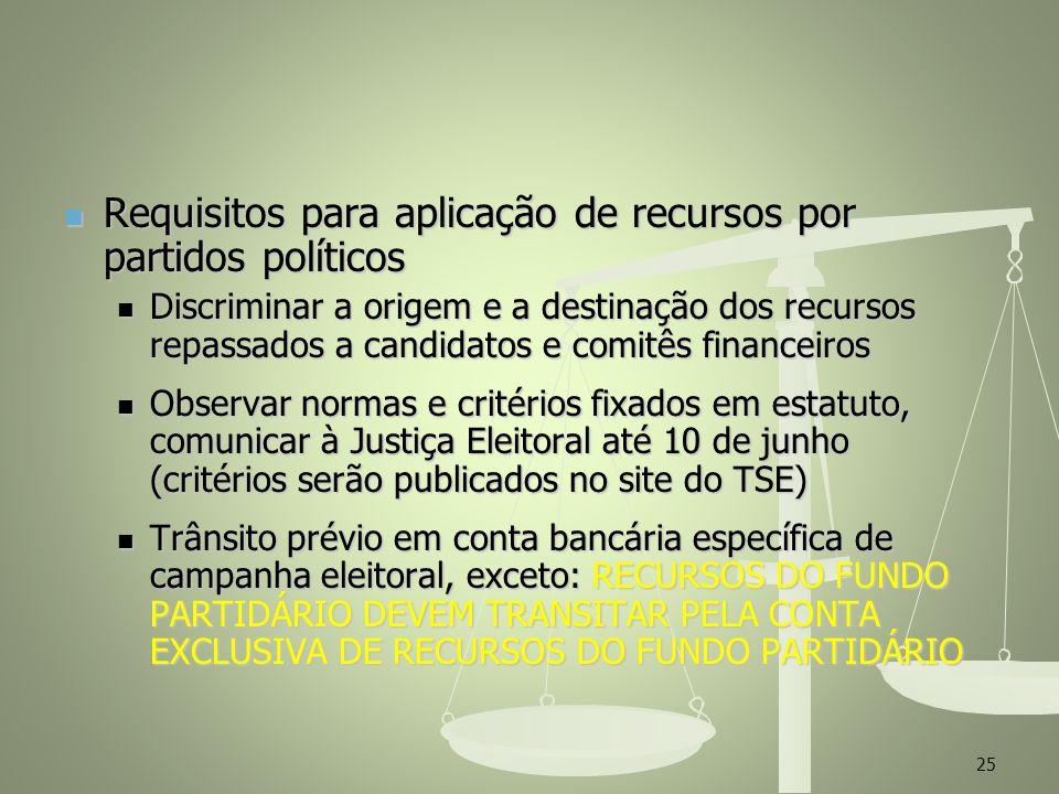 Requisitos para aplicação de recursos por partidos políticos Requisitos para aplicação de recursos por partidos políticos Discriminar a origem e a des
