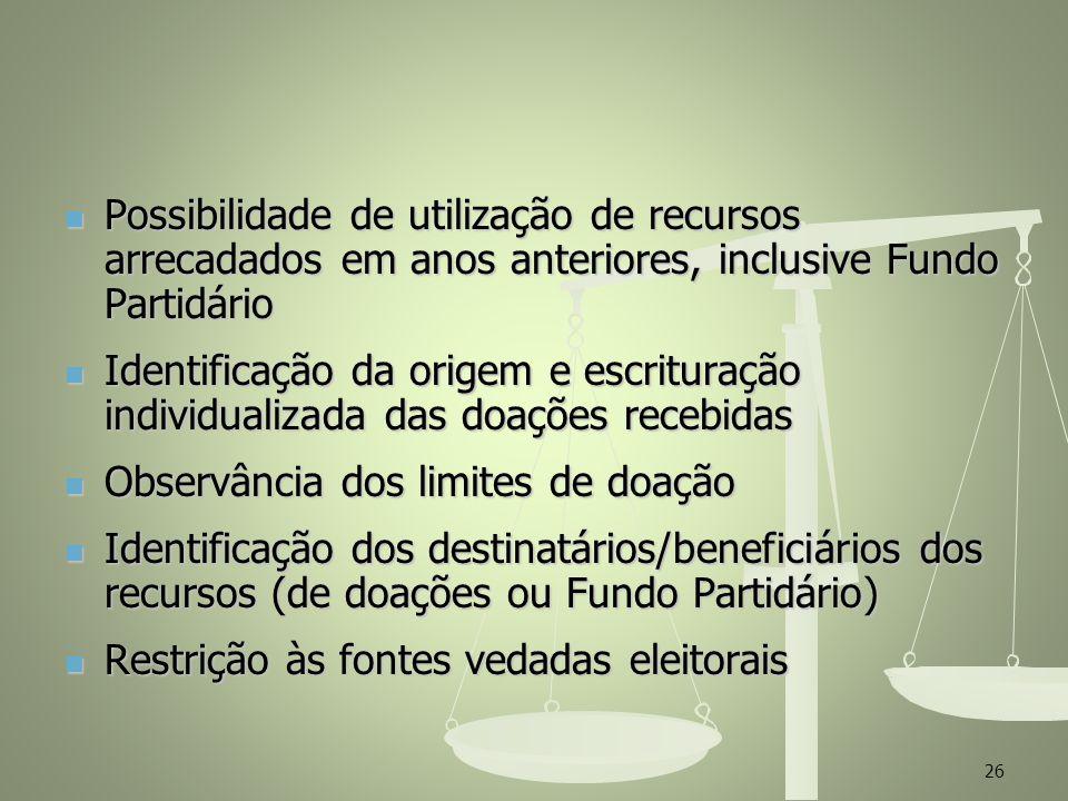 Possibilidade de utilização de recursos arrecadados em anos anteriores, inclusive Fundo Partidário Possibilidade de utilização de recursos arrecadados