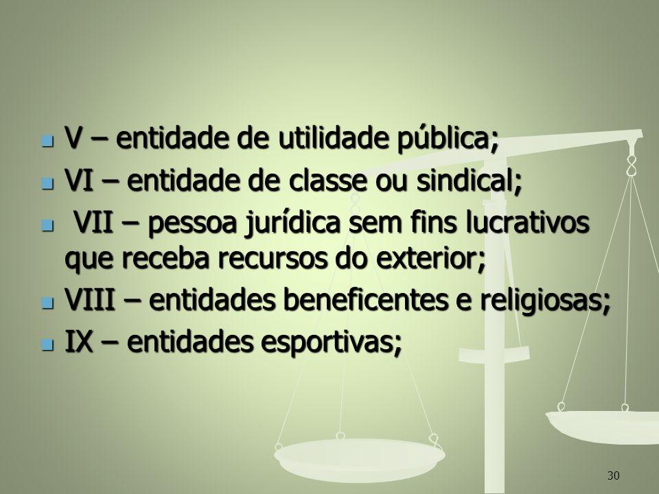 V – entidade de utilidade pública; V – entidade de utilidade pública; VI – entidade de classe ou sindical; VI – entidade de classe ou sindical; VII –