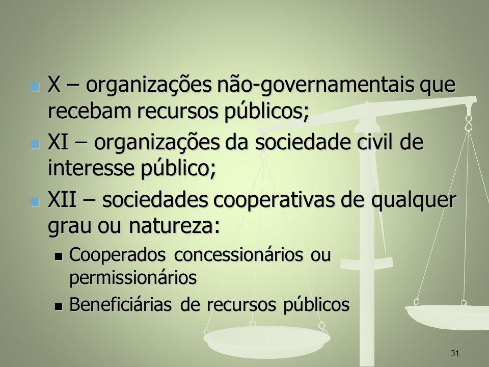 X – organizações não-governamentais que recebam recursos públicos; X – organizações não-governamentais que recebam recursos públicos; XI – organizaçõe