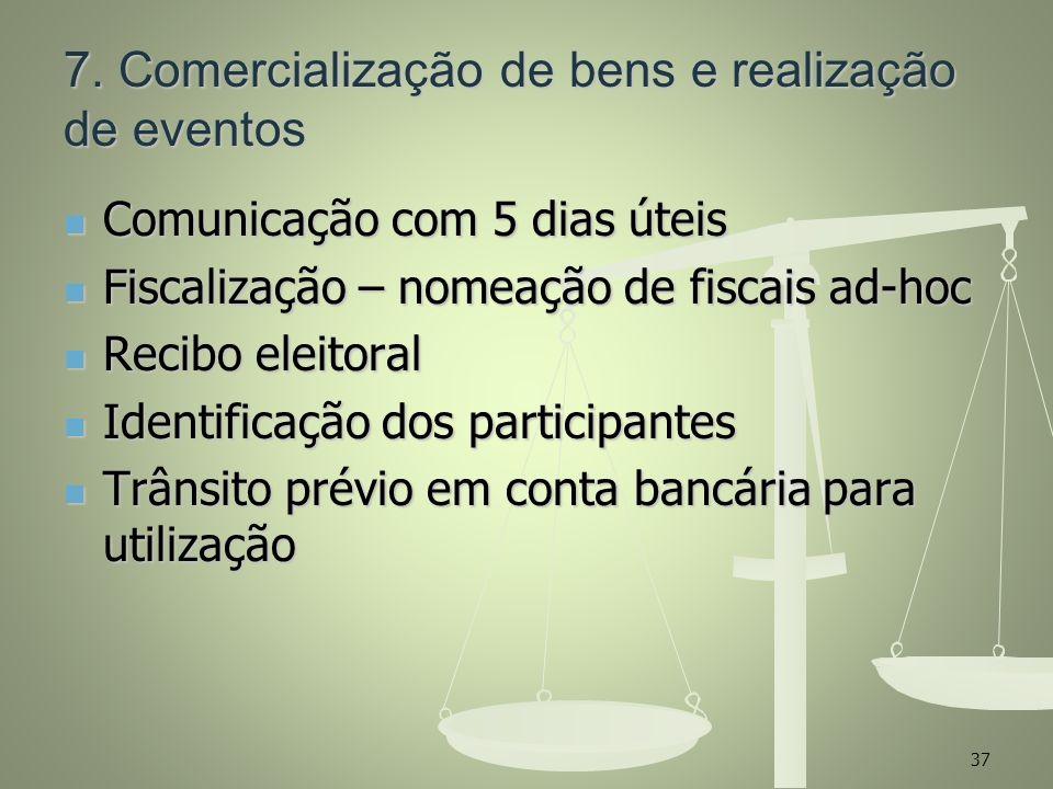 7. Comercialização de bens e realização de eventos Comunicação com 5 dias úteis Comunicação com 5 dias úteis Fiscalização – nomeação de fiscais ad-hoc