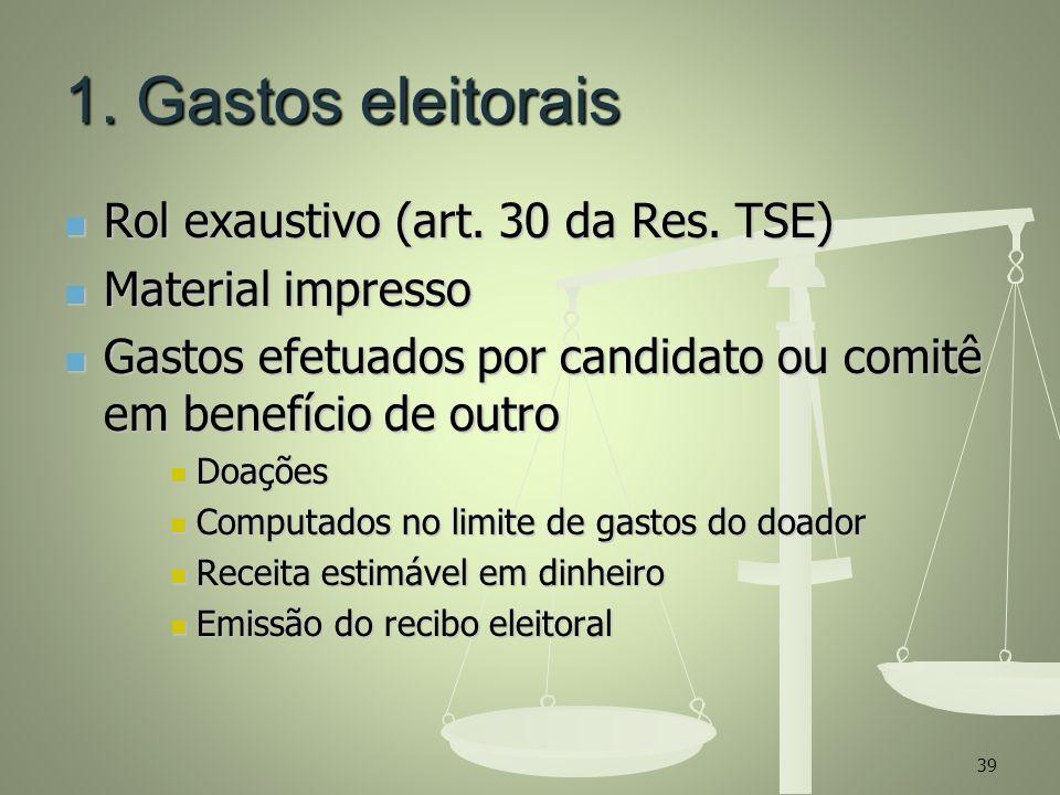 1. Gastos eleitorais Rol exaustivo (art. 30 da Res. TSE) Rol exaustivo (art. 30 da Res. TSE) Material impresso Material impresso Gastos efetuados por