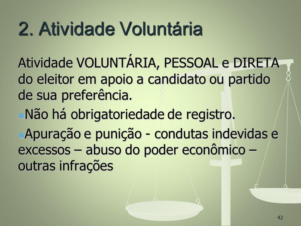 2. Atividade Voluntária Atividade VOLUNTÁRIA, PESSOAL e DIRETA do eleitor em apoio a candidato ou partido de sua preferência. Não há obrigatoriedade d