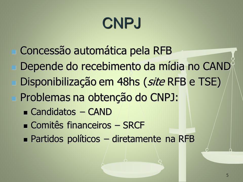 CNPJ Concessão automática pela RFB Concessão automática pela RFB Depende do recebimento da mídia no CAND Depende do recebimento da mídia no CAND Dispo