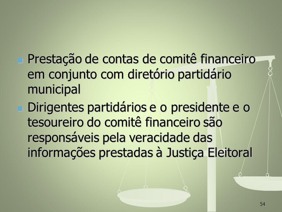 Prestação de contas de comitê financeiro em conjunto com diretório partidário municipal Prestação de contas de comitê financeiro em conjunto com diret