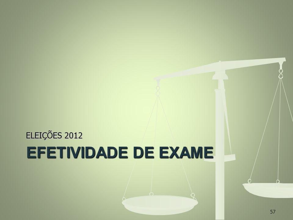 EFETIVIDADE DE EXAME ELEIÇÕES 2012 57