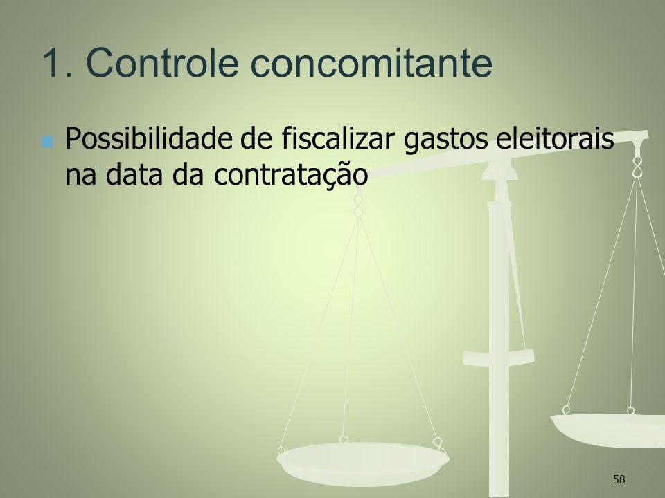 1. Controle concomitante Possibilidade de fiscalizar gastos eleitorais na data da contratação 58