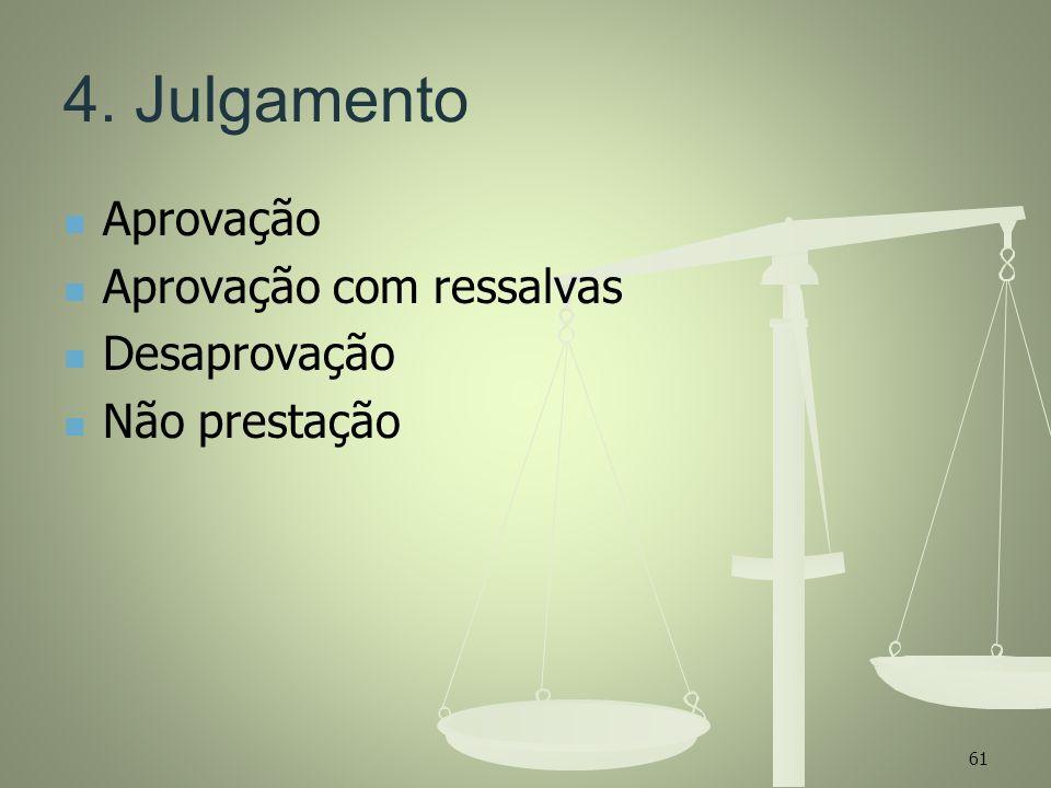 4. Julgamento Aprovação Aprovação com ressalvas Desaprovação Não prestação 61