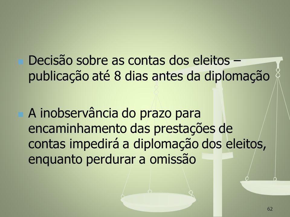 Decisão sobre as contas dos eleitos – publicação até 8 dias antes da diplomação A inobservância do prazo para encaminhamento das prestações de contas