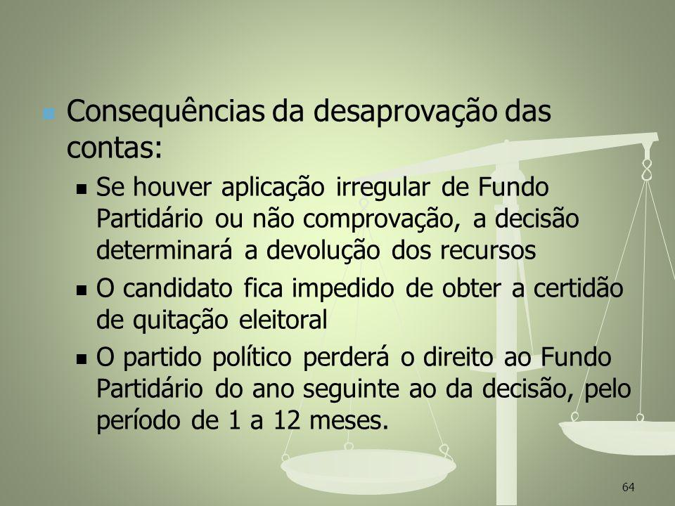 Consequências da desaprovação das contas: Se houver aplicação irregular de Fundo Partidário ou não comprovação, a decisão determinará a devolução dos